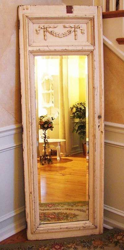 40 ideas para reutilizar una puerta antigua antigua - Hacer marco espejo ...