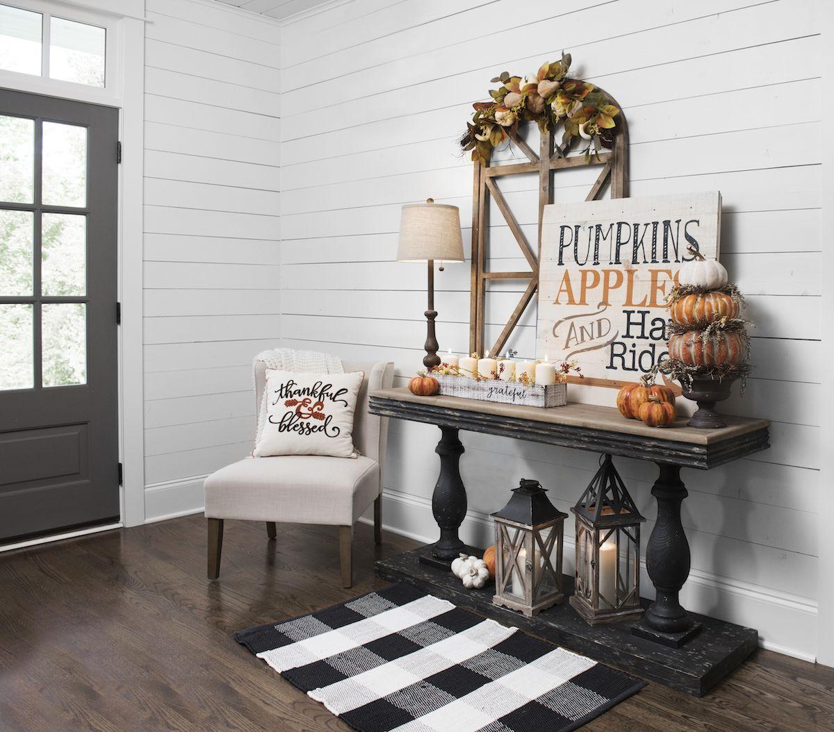 Product Details Pre-Lit Pumpkins Apples Hayrides Wood Plank Plaque #falldecorideas