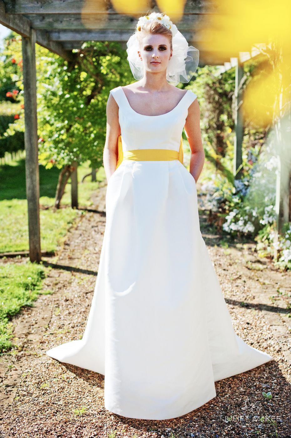Wedding gown with red accents  Lemon zest wedding theme Yellow bridal sash Yellow themed wedding