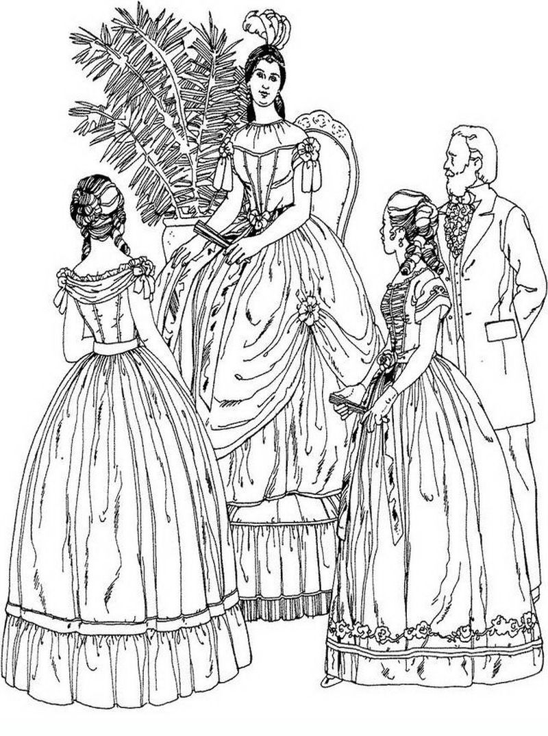 Victorian women gathering realistic coloring pages for adults ...