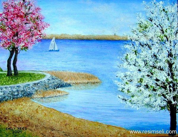Resimler Yagliboya Resimleri Deniz Manzarasi Veyelkenli Deniz Manzarasi Veyelkenli Guzel Resim Art Canvas Painting Painting