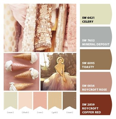Paint colors from Chip It! by Sherwin-Williams (With images) | Rose gold color palette. Gold color palettes