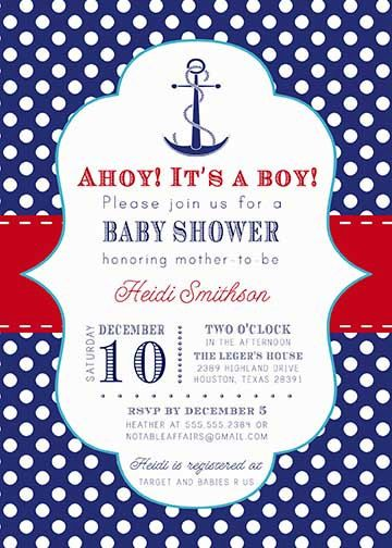 anchor nautical sailing navy red white and blue baby shower or
