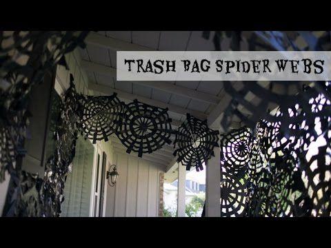 Trash Bag Spider Webs - YouTube Halloween Pinterest Trash bag