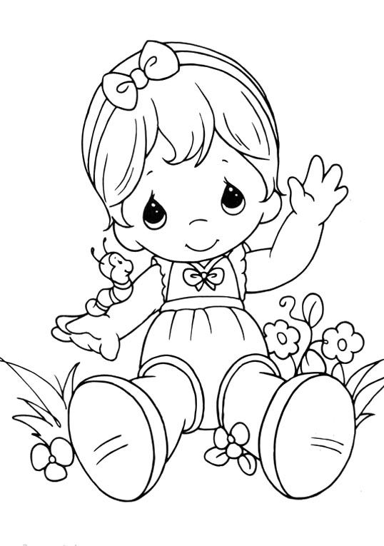 precious moments sitting relaxed coloring pages - Baby Girl Coloring Pages Kids