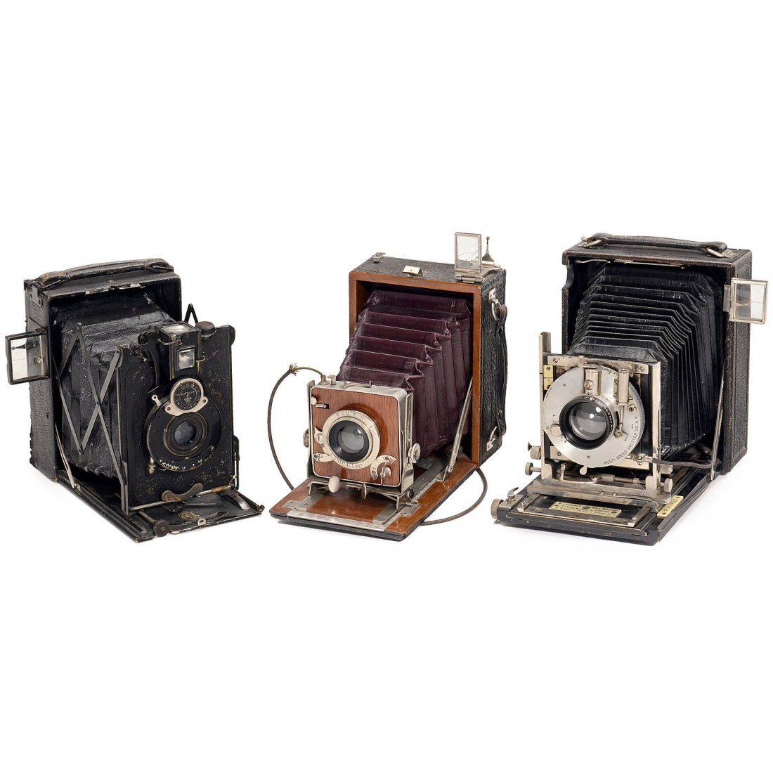 3 Rare Folding Plate Cameras (9 x 12 cm) 1) France