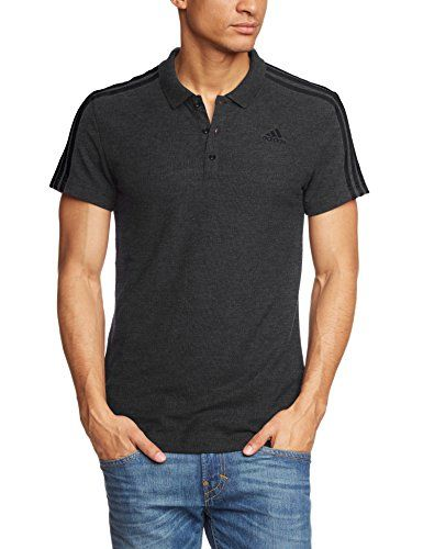 adidas Herren Poloshirt Sport Essentials 3 Stripes, Schwarz