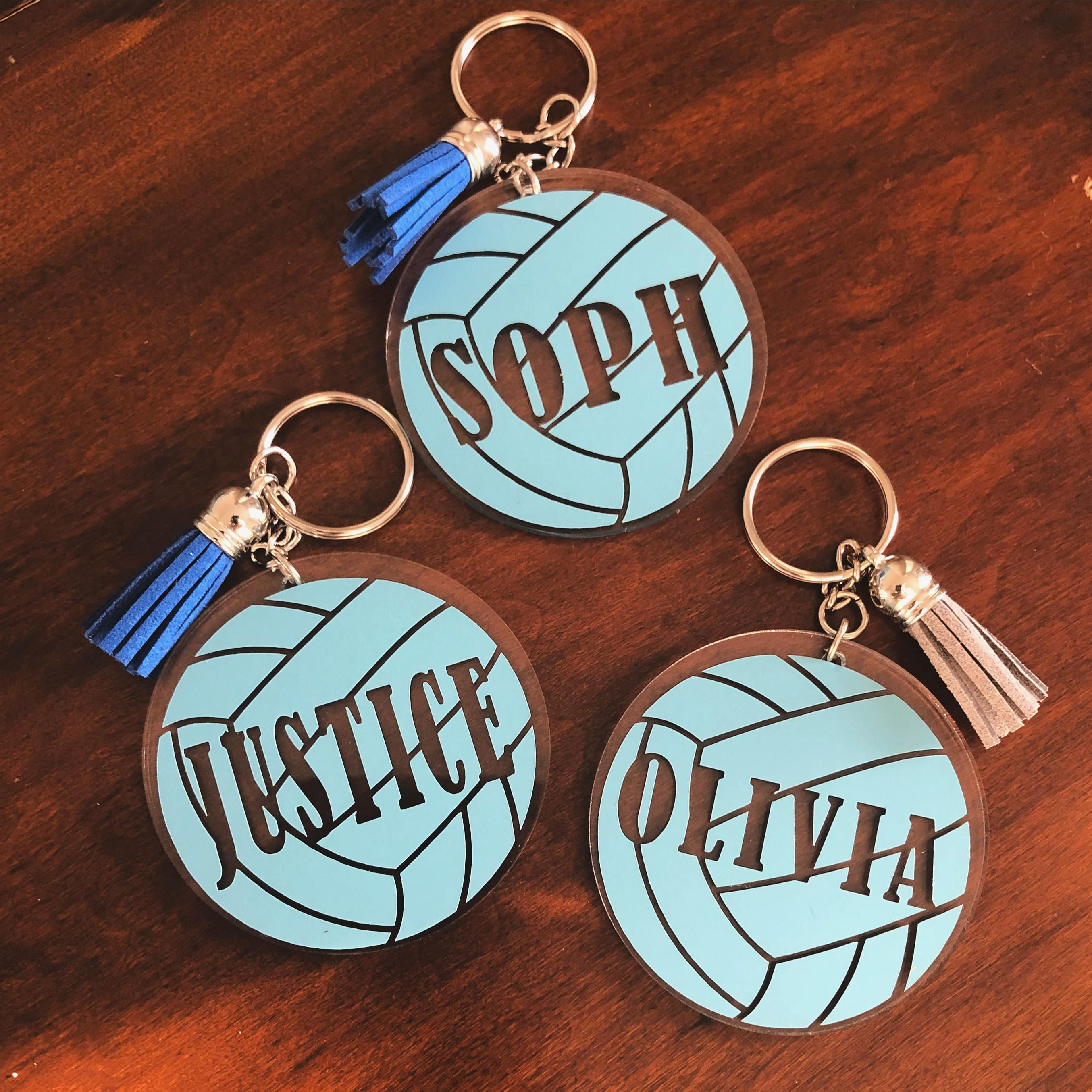 Personalized Sports Key Chain Vinyl Lettering Team Gift Monogram Acrylic Key Chain Volleyball Football Acrylic Keychains Keychain Monogram Keychain