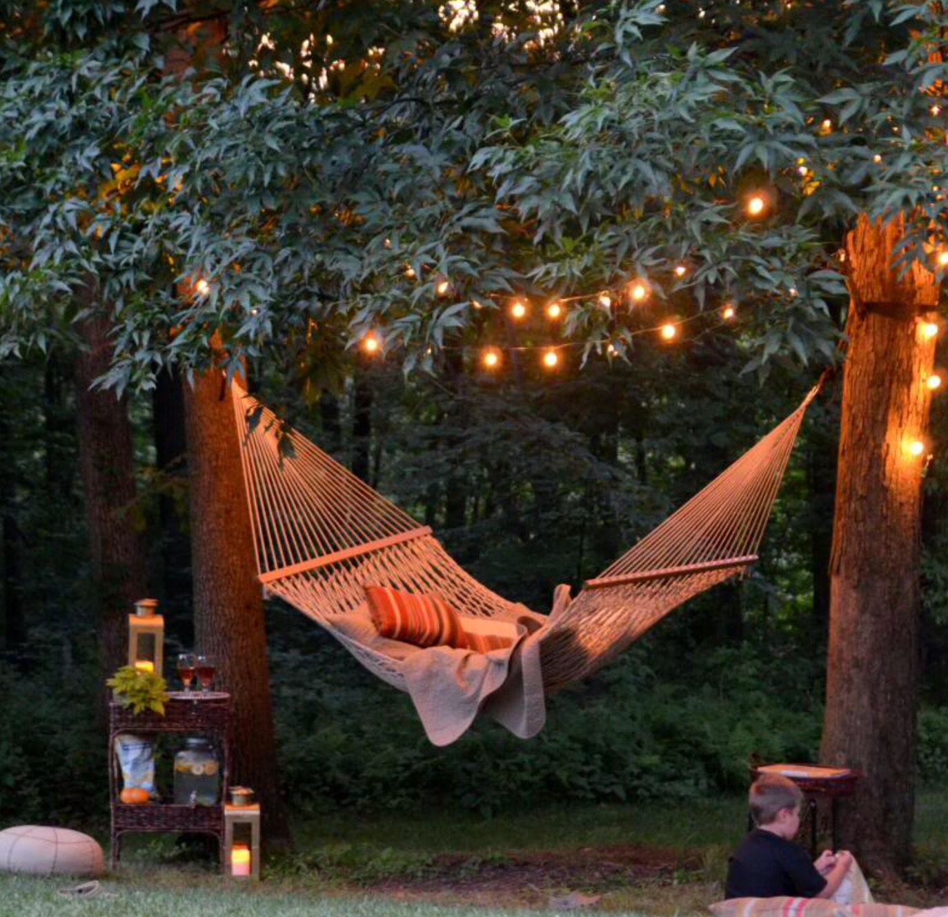 Backyard Hammock And Outdoor Fairy Lights. Perfect For Lazy Summer Evenings