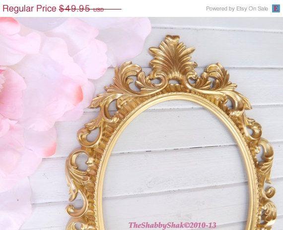 ON SALE Ornate Baroque Frame / Hollywood Regency / Gold / Oval Frame ...
