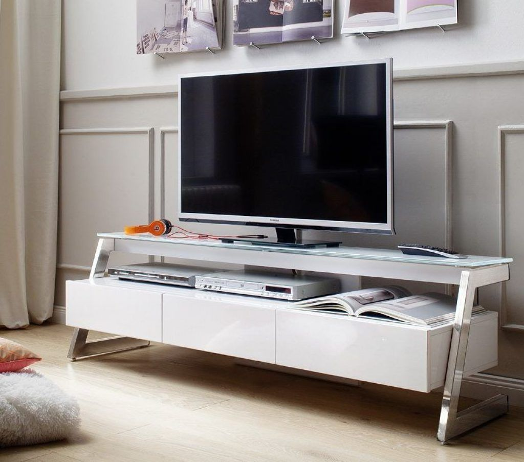 Tv Stand With Brushed Stainless Steel Support White Tv Unit Glass Tv Stand Tv Stand