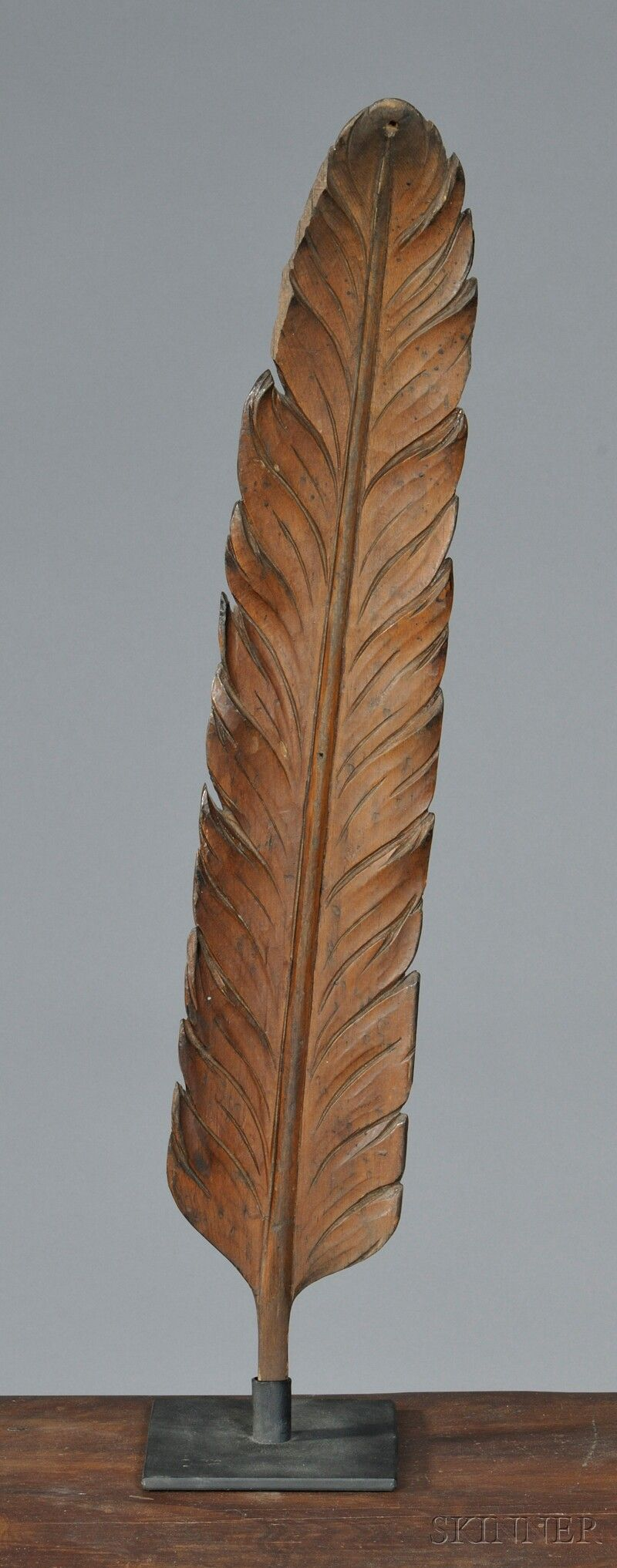Carved Pine Feather, America, 19th century, carved in the round, with stand