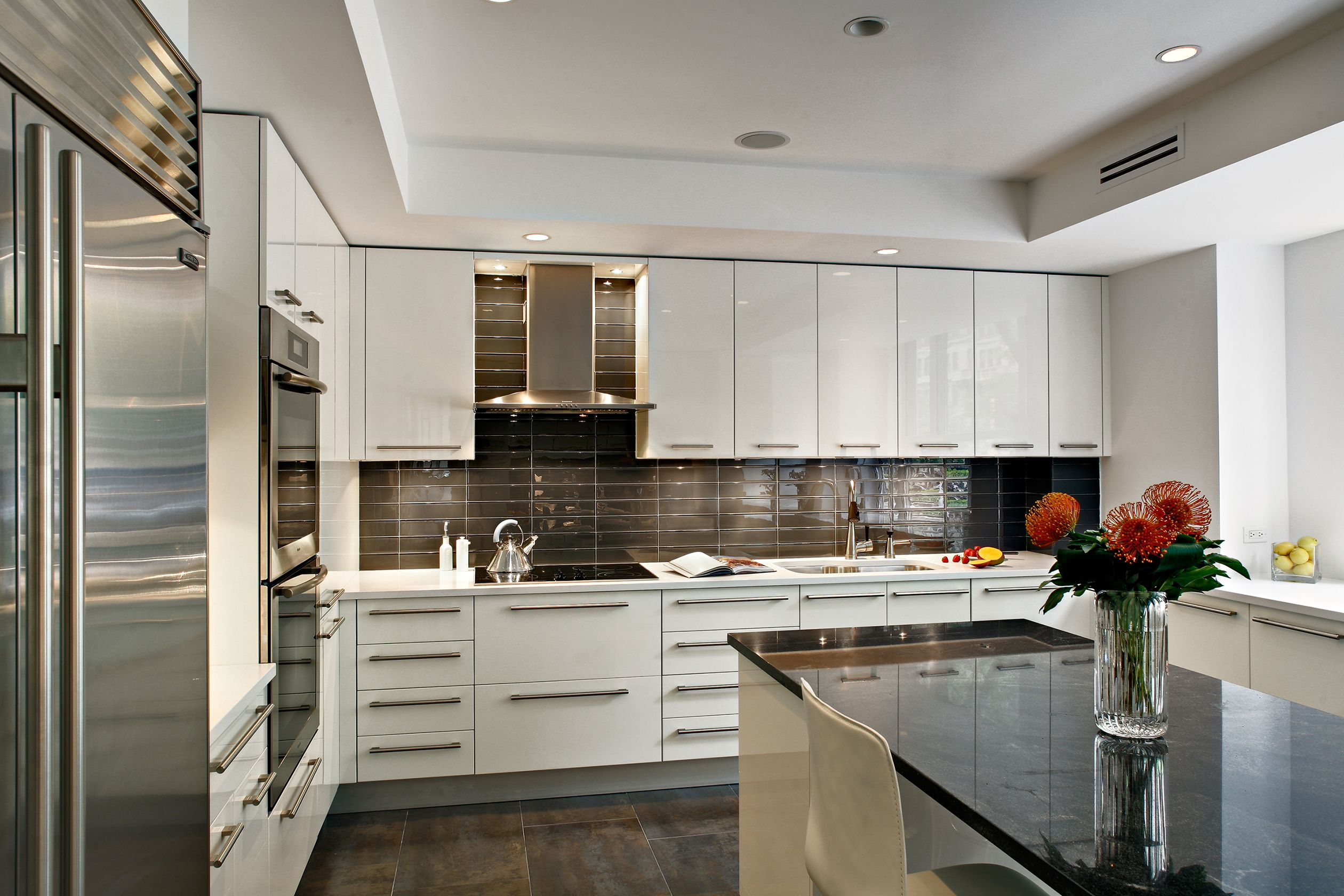 Custom Kitchen Design Contemporary White High Gloss Lacquer Cabinetry With Kitchen Inspiration Design Kitchen Design Contemporary White Kitchen Island Design
