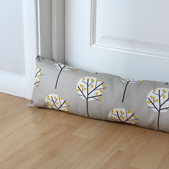 A Modern Scandi Style Handmade Draught Excluder In My Moonlight Tree Fabric In Grey Whether You Have An Old H Fabric Tree Scandinavian Fabric Draught Excluder