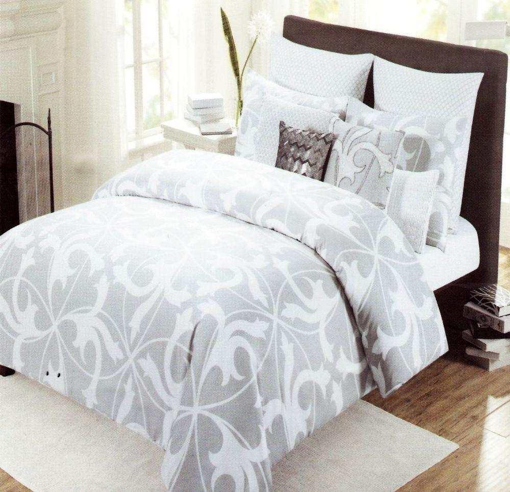 tahari home 3pc luxury cotton full queen duvet cover set gray