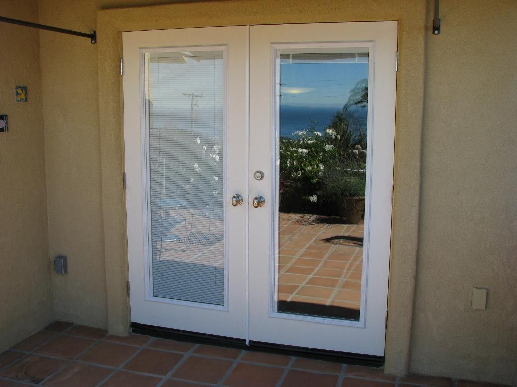 Outswing exterior french doors with blinds