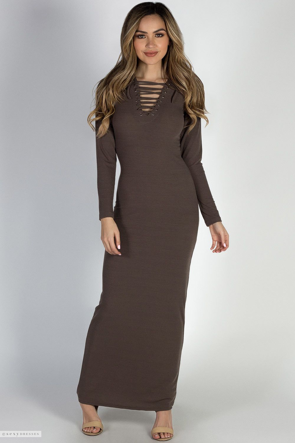 I Got You Cocoa Long Sleeve Lace Up Bodycon Maxi Dress Maxi Dress Bodycon Maxi Dresses Dresses [ 1500 x 1000 Pixel ]