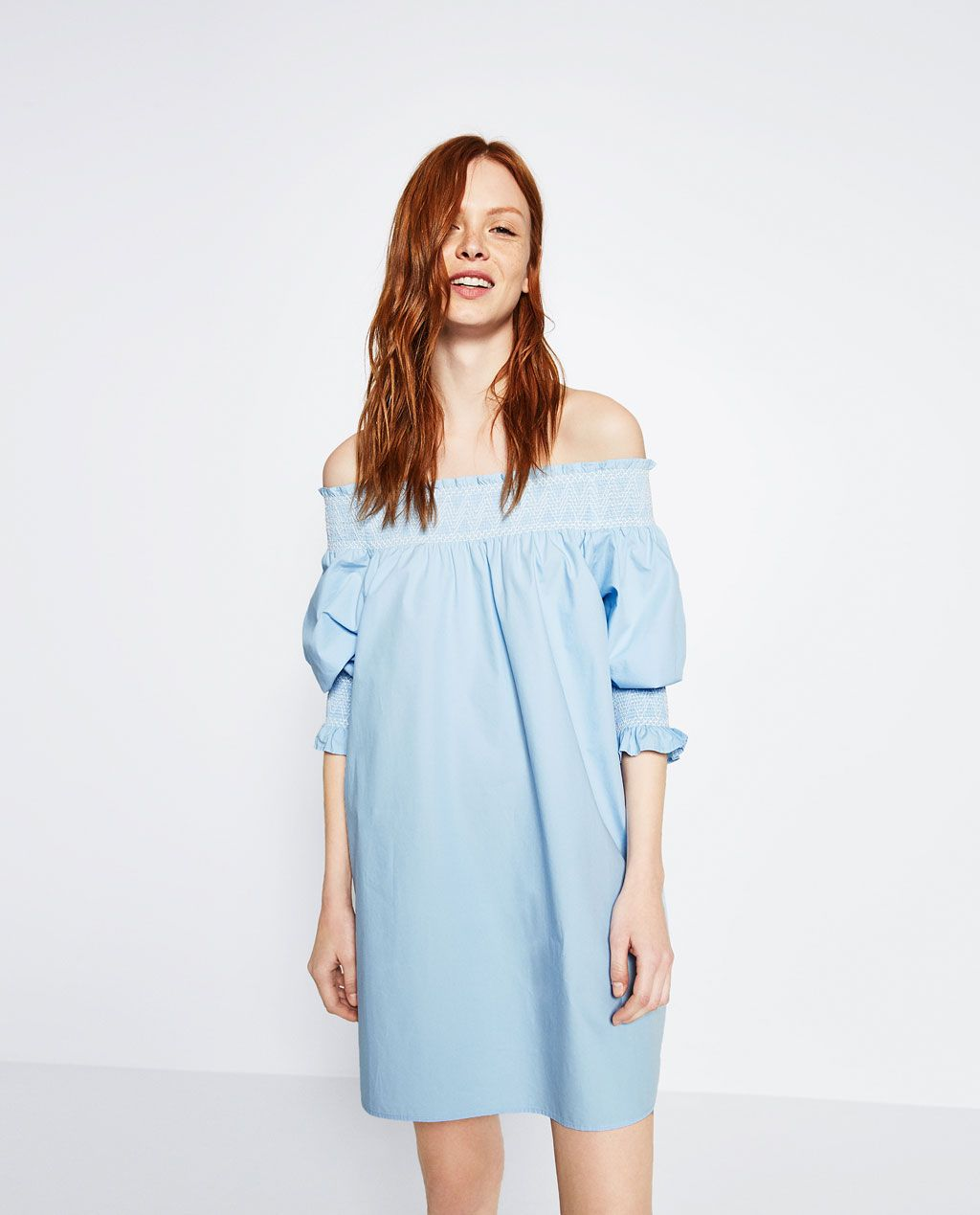 d06067819f7 ZARA - WOMAN - OFF-THE-SHOULDER POPLIN DRESS | V2 in 2019 | Túnicas ...