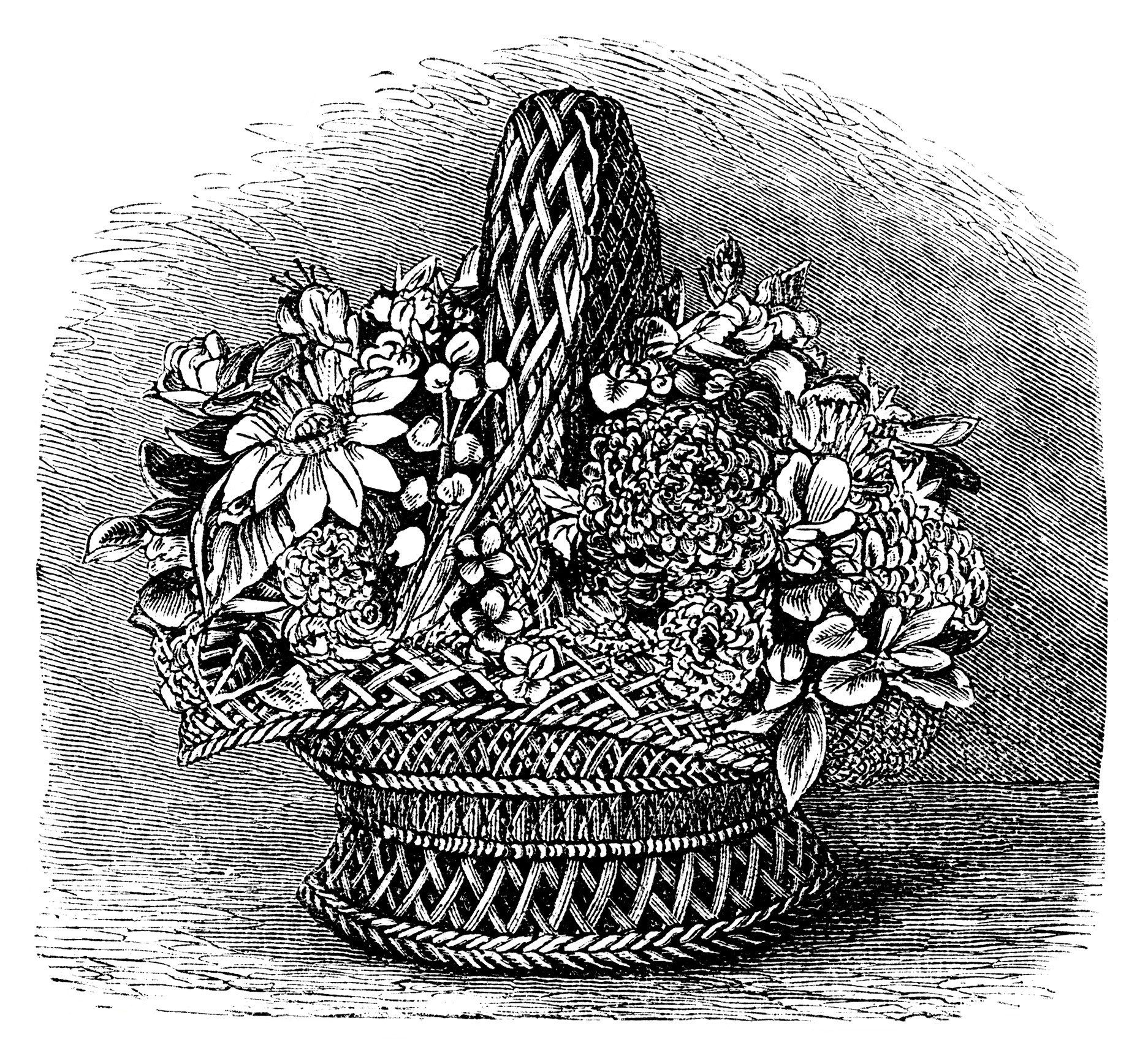 Basket of shell flowers vintage clipart flowers black and white basket of shell flowers vintage clipart flowers black and white clip art floral dhlflorist Image collections