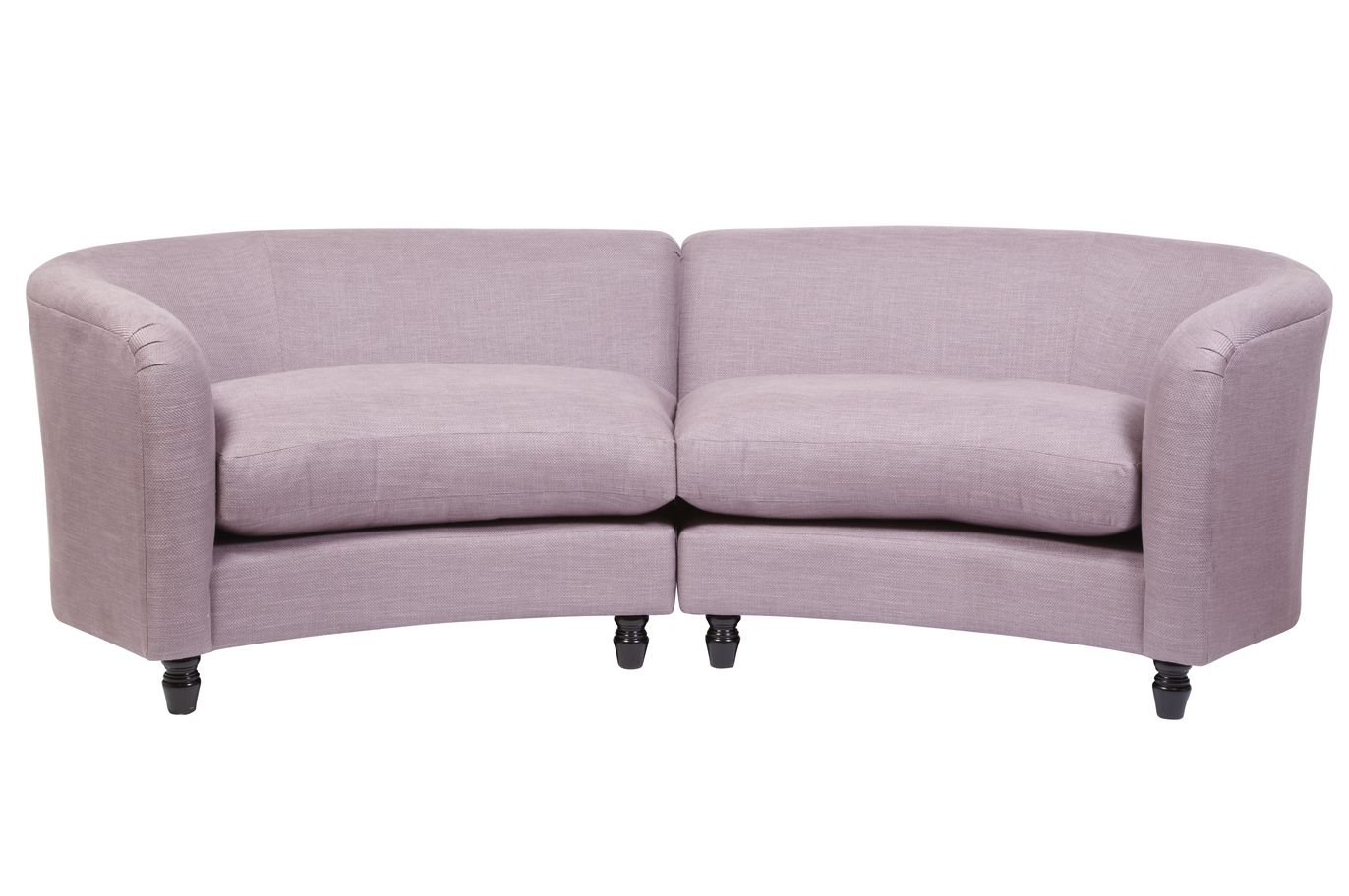 Large round curved sofa sectional astoria upholstered for Small settee