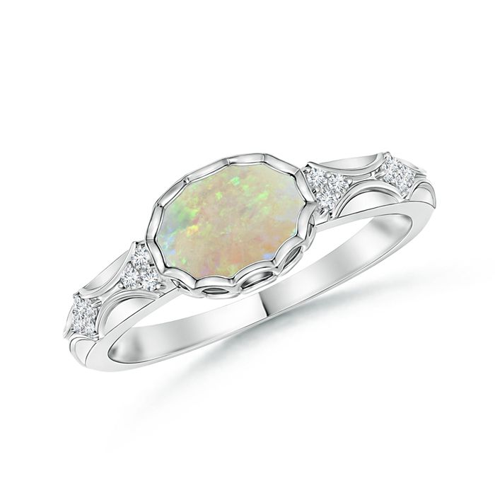 Angara Vintage Oval Opal Engagement Ring in Platinum