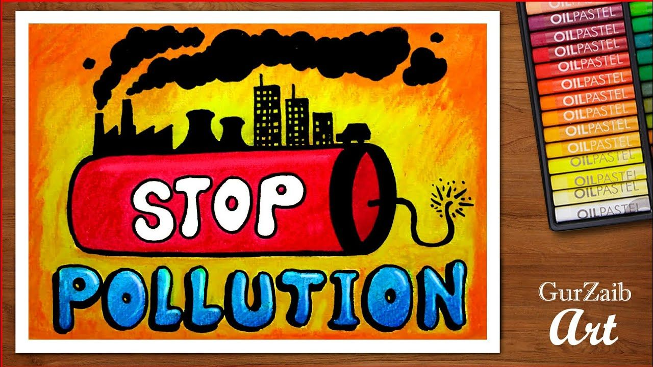 How to draw stop pollution poster chart for school students step by step