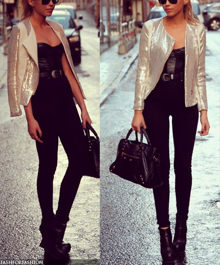 metalic jacket with skinny jeans <3