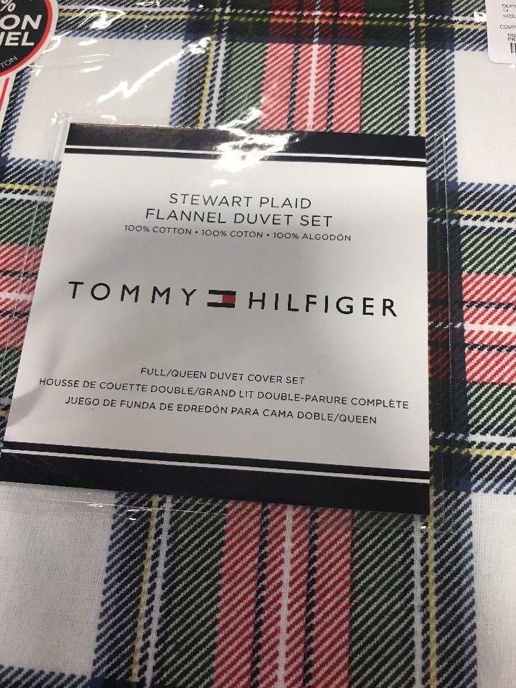 Tommy Hilfiger Full Queen Duvet Set Flannel Stewart Plaid Red Green Tartan Tommy Hilfiger Flannel Duvet Red Green