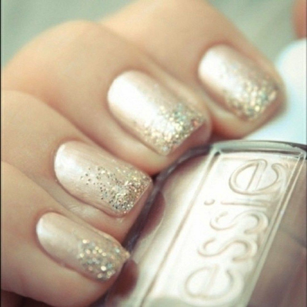 Neutral Nail With Glitter Tips With Images Ombre Nails Glitter