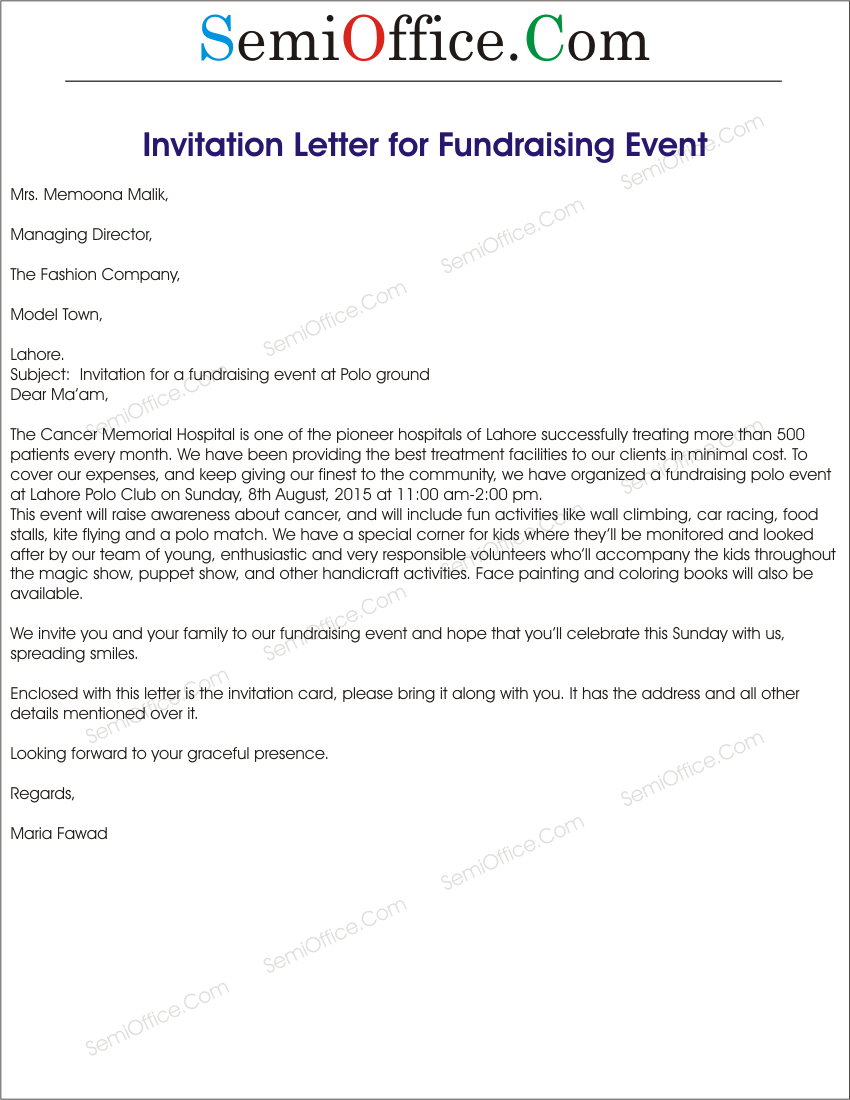 Fundraising Event Invitation Letter Sample Sponsorship Documents