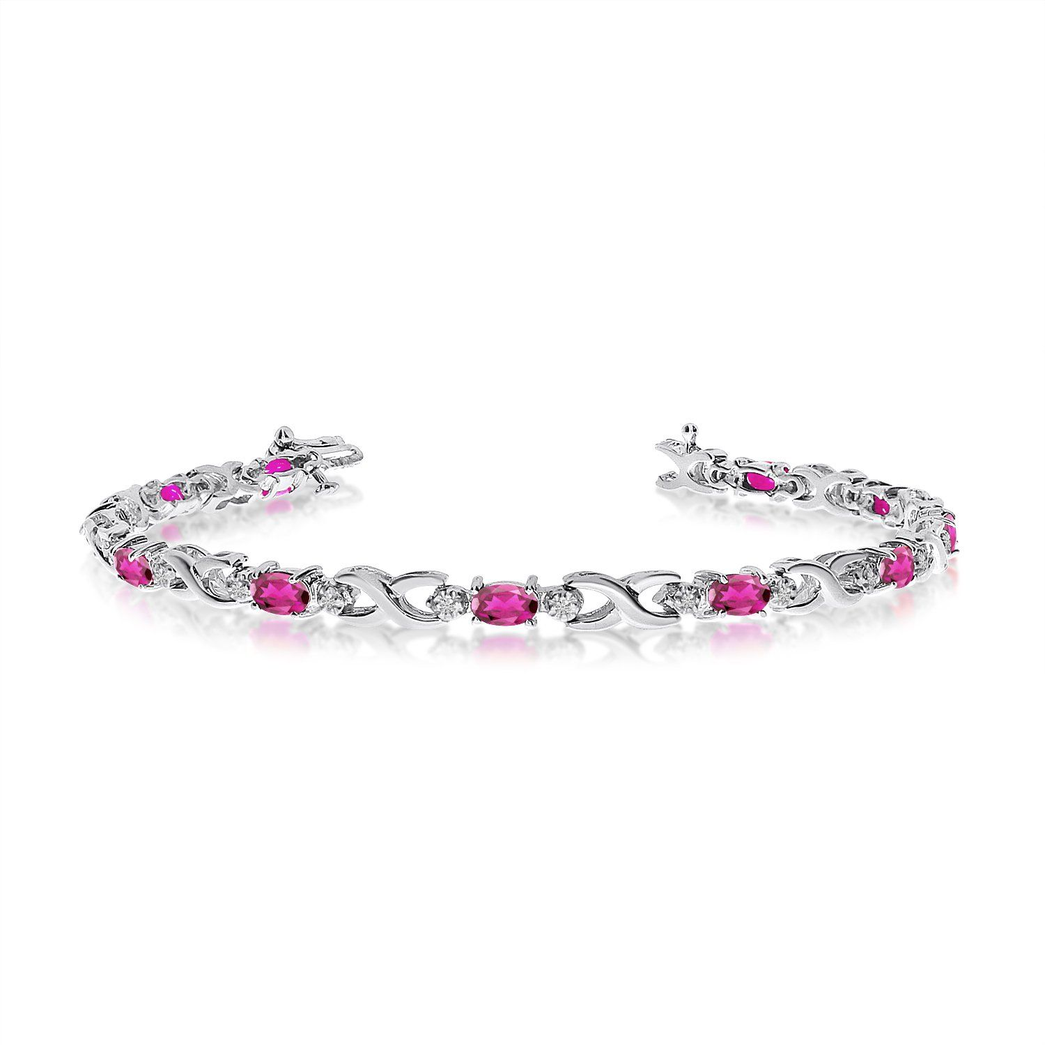 in diamond image pink round gold and white oval bracelet sapphire