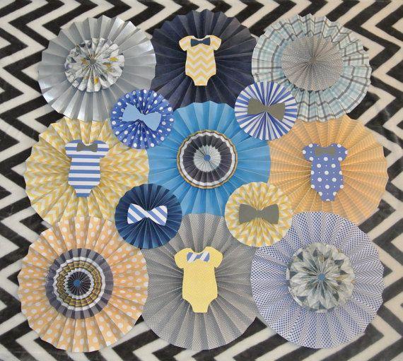 Baby Shower Decor / Paper Rosette Backdrop / Nursery Decor / Baby Boy Party Decor / Onesie Theme / Bow Tie Theme Decor https://www.etsy.com/listing/266629590/baby-shower-decor-onesie-themed-paper