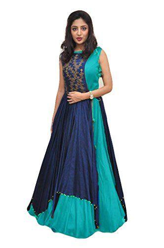 572436371ff ECOLORS FAB Women s Free Size Indo Western Dress ( Indo Westerns Taffeta  Silk Free Size ) (blue)