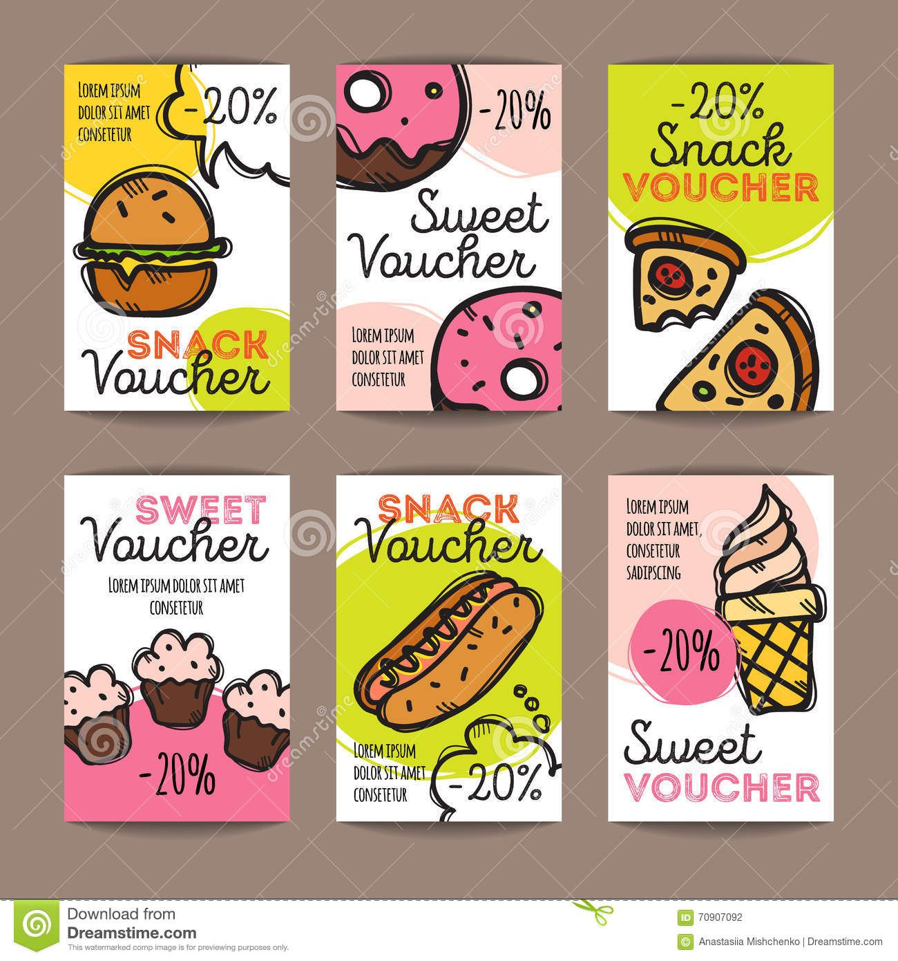 vector-set-discount-coupons-fast-food-desserts-colorful-doodle-style ...