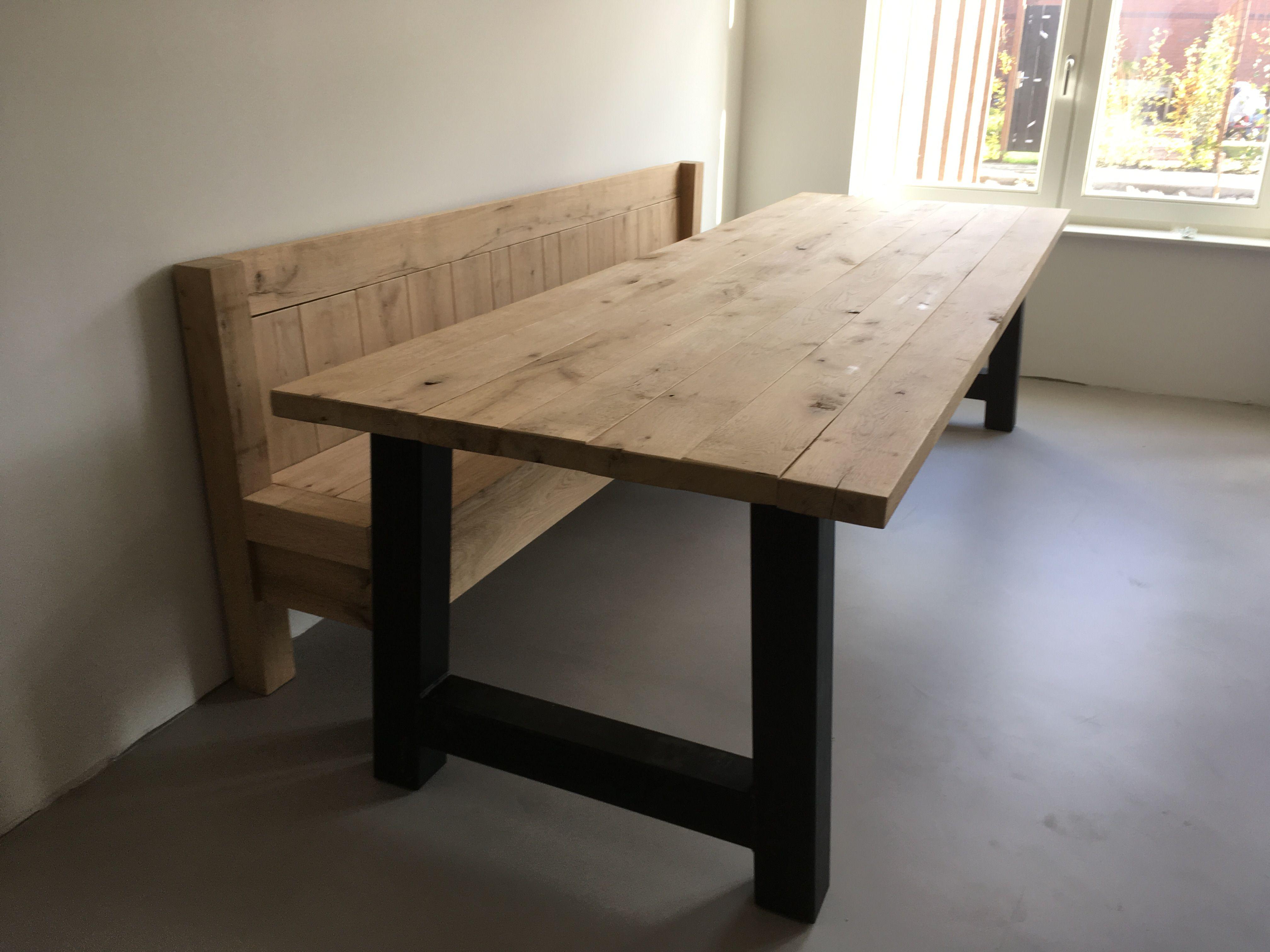 Eiken tafel met eettafel bank van eiken www.rolanmeubels eiken