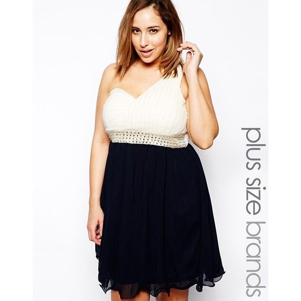 Ax Paris Plus Size One Shoulder Jewel Contrast Dress Found On