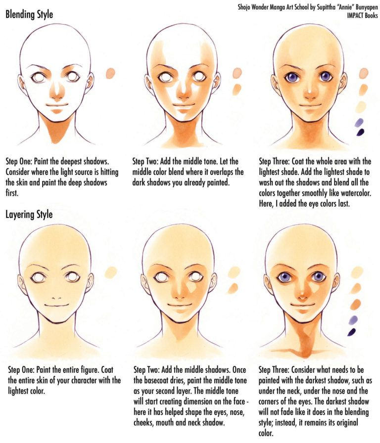Skin Tones How To Color Skin Tones Manga Art How To Draw Manga Instruction Watercolor Skin Tones Colors For Skin Tone Watercolor Face