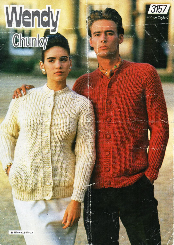 "Chunky Knitting Pattern Ladies  Jacket Cardigan Size 28//44"""