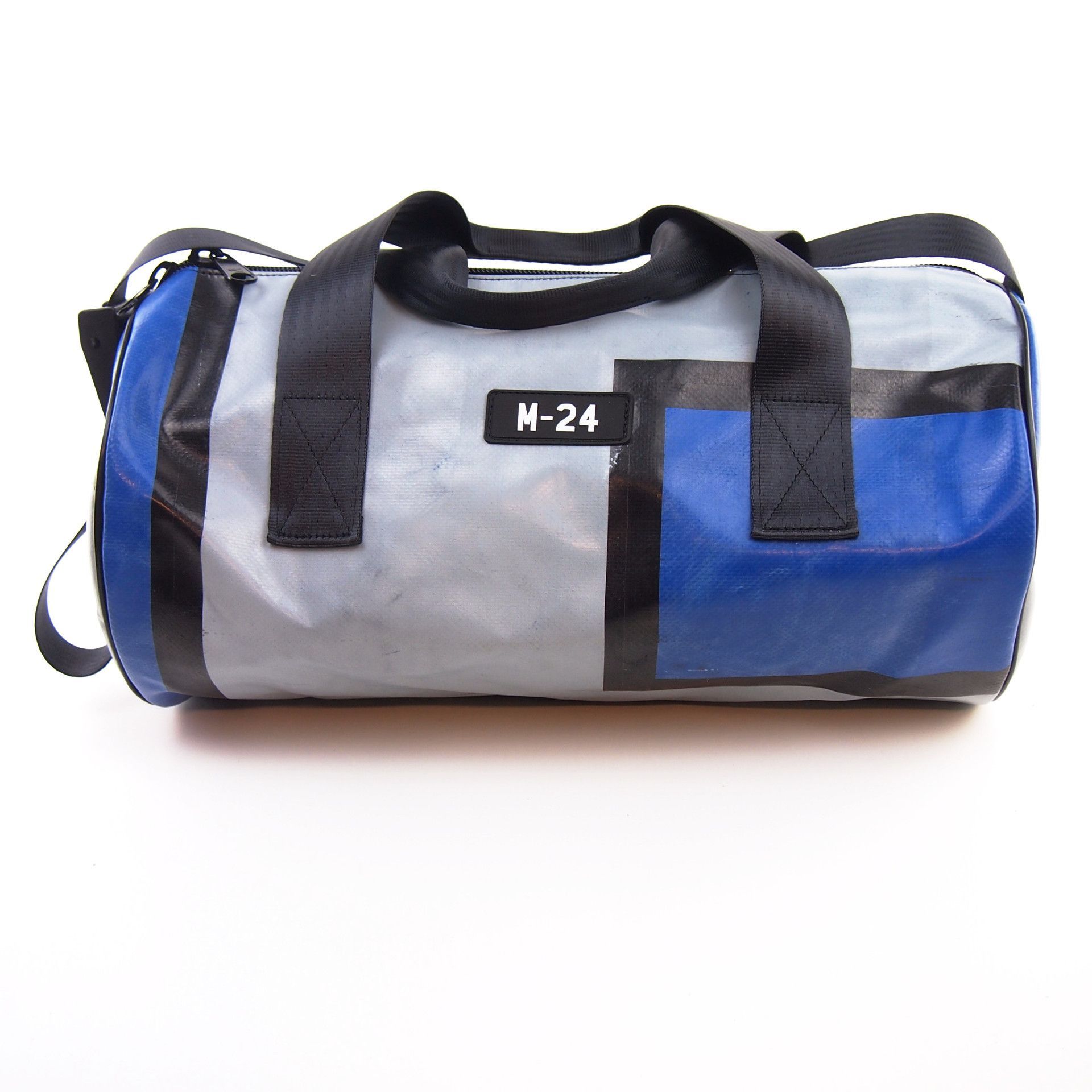 Keg Blue Grey And Black Gym Duffle Bag M 24 Upcycled