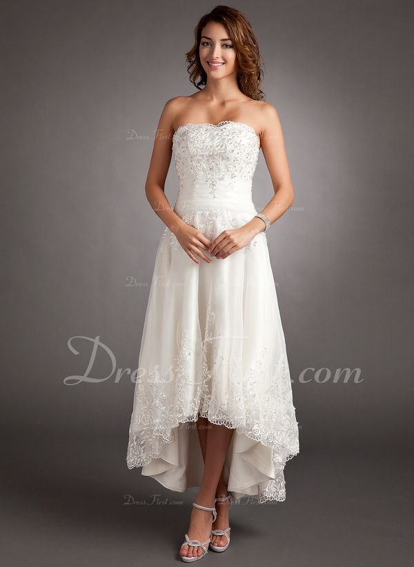 75c1a4cf5254 A-Line/Princess Sweetheart Asymmetrical Lace Beading Zipper Up Covered  Button Strapless Sleeveless Hall General Plus No Spring Summer Ivory Tulle  Wedding ...