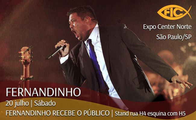 Alô SP! 20/07 Fernandinho vai receber o público sábado na Feira Internacional Cristã 2013! #FIC2013 #FIC #Onimusic #MúsicaGospel