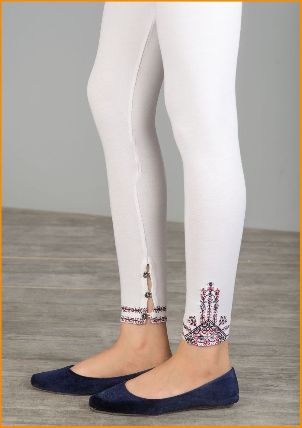 Stitched Design Footless Tights White