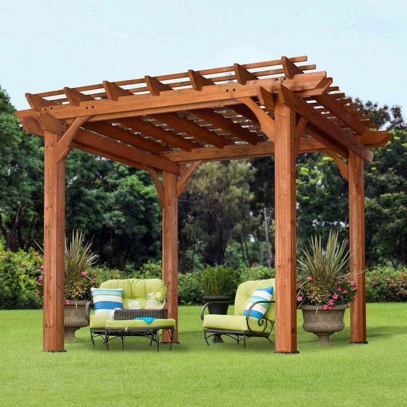 Cedar 10 Ft W X 10 Ft D Solid Wood Pergola With Mounting Kit
