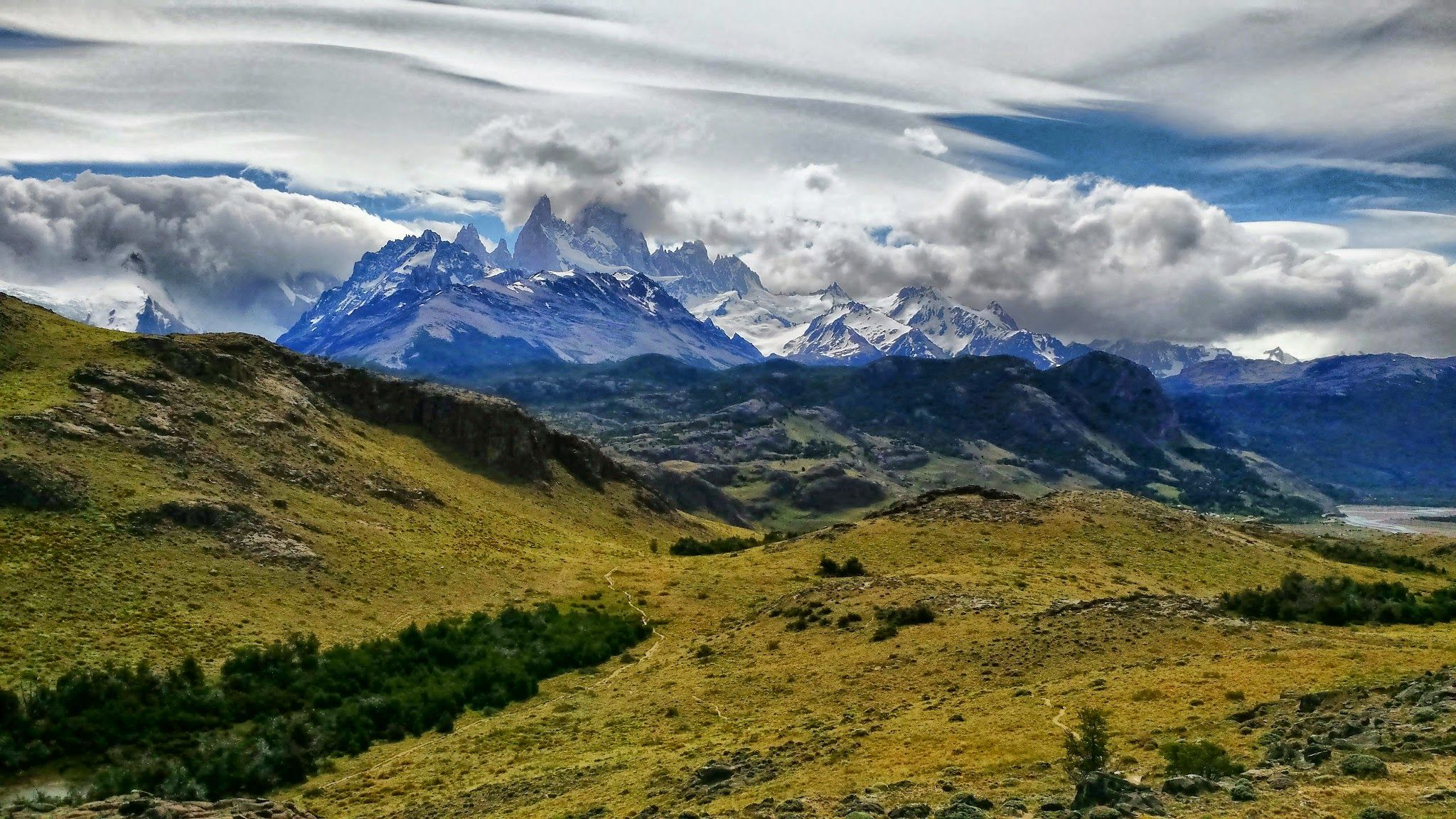 The Fitz Roy Massif Obscured By Clouds Outside Of El Chalten