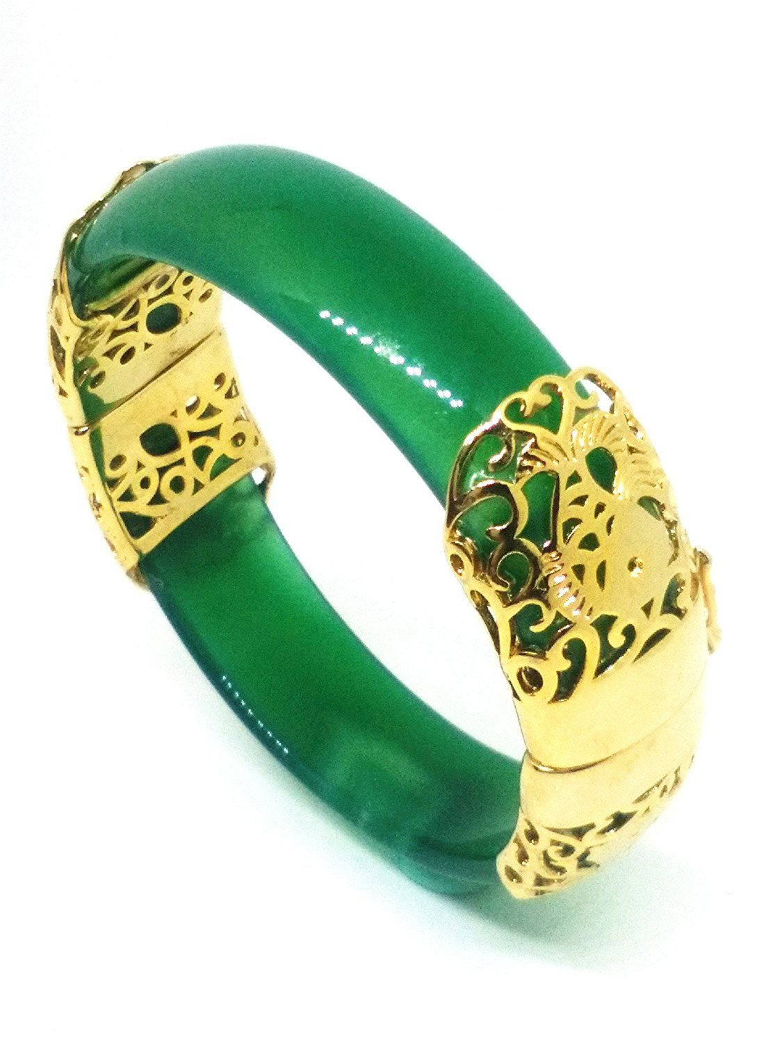 18K Yellow gold Natural Green Jade Gems Bangle Bracelet 60MM ZtOtzWNB