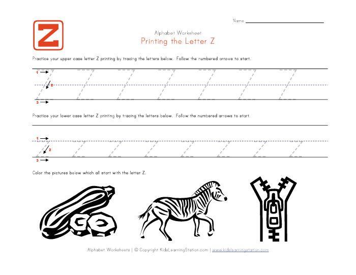 Traceable Alphabet Letter Z  Printing Practice