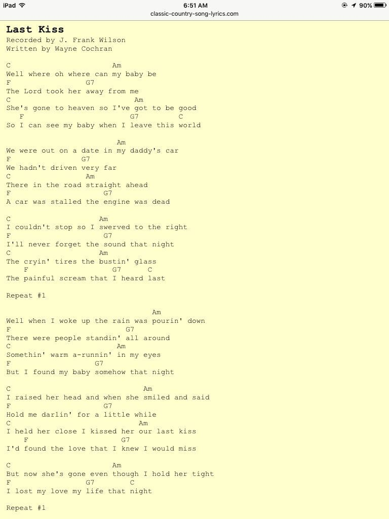 Pin by jackie jones madden on music pinterest guitars songs ukulele songs guitar chords acoustic guitars music notes music music sheet music music lessons song lyrics last kiss hexwebz Gallery