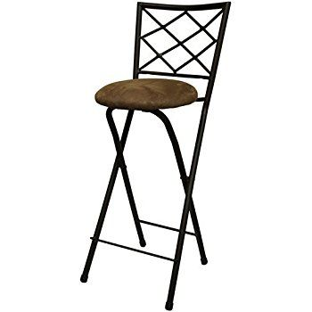 Amazon Com New 30 Folding Bar Stools In Bronze With Cushioned Seat For Dining And Kitchen Kitchen Folding Bar Stools Bar Stools Brown Leather Recliner Chair 30 inch folding bar stool