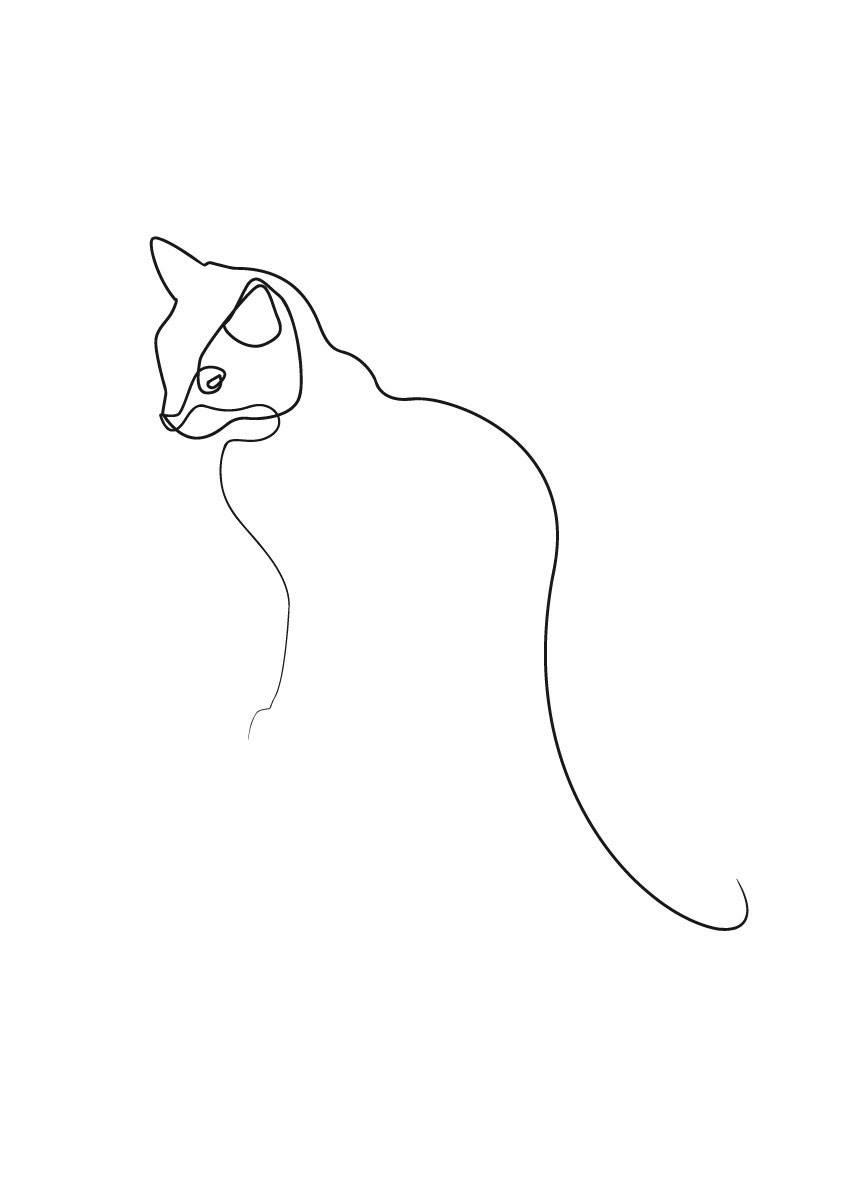 Силуэты кошек картинки карандашом
