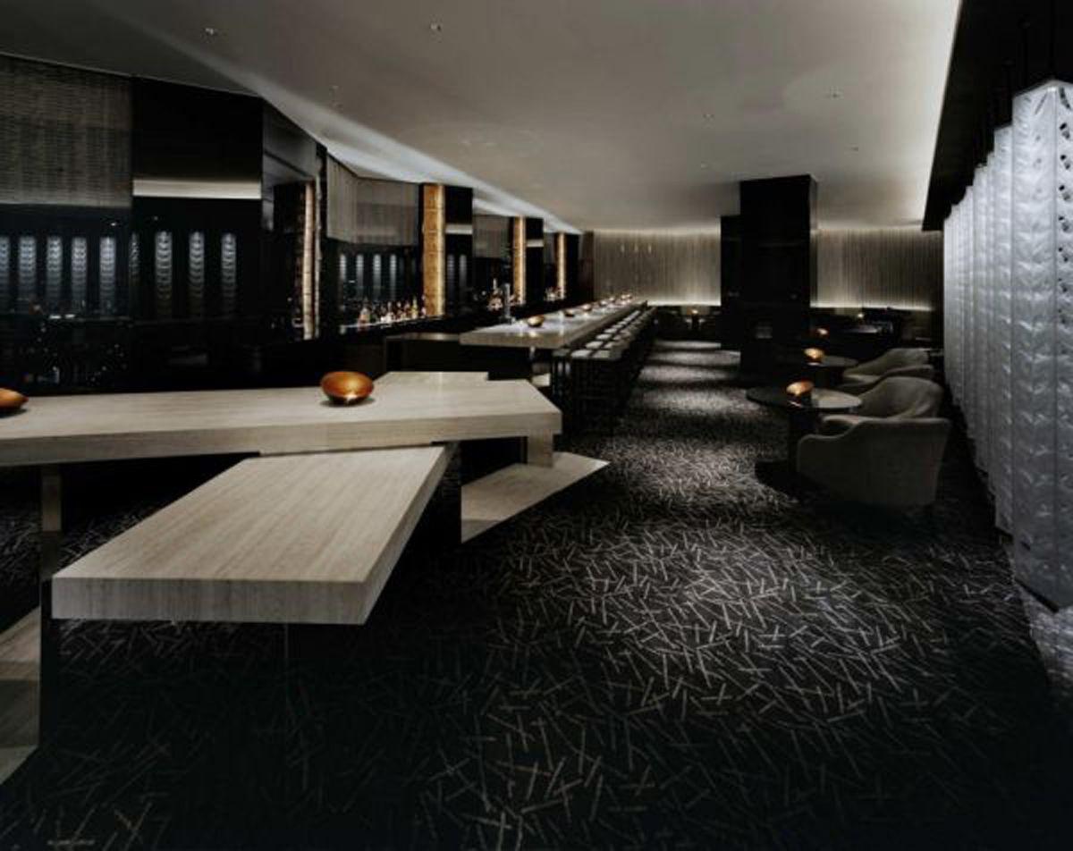 Interior Design With Artistic Blue Black Color Scheme Futuristic Black ...  Modern Home Bar
